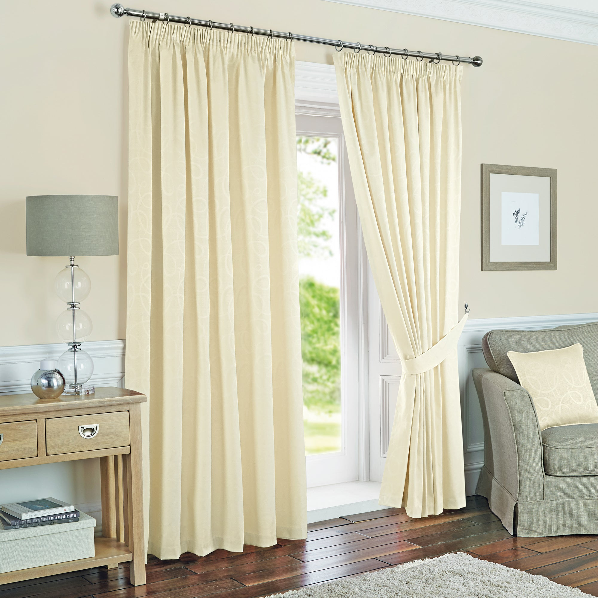 Cream Toledo Thermal Pencil Pleat Curtains