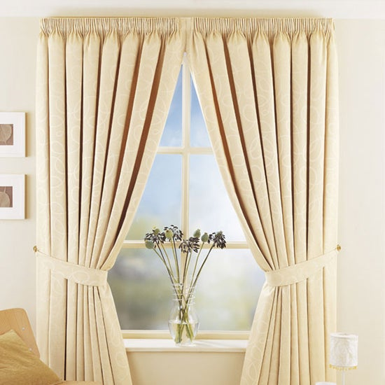 Natural Toledo Thermal Pencil Pleat Curtains