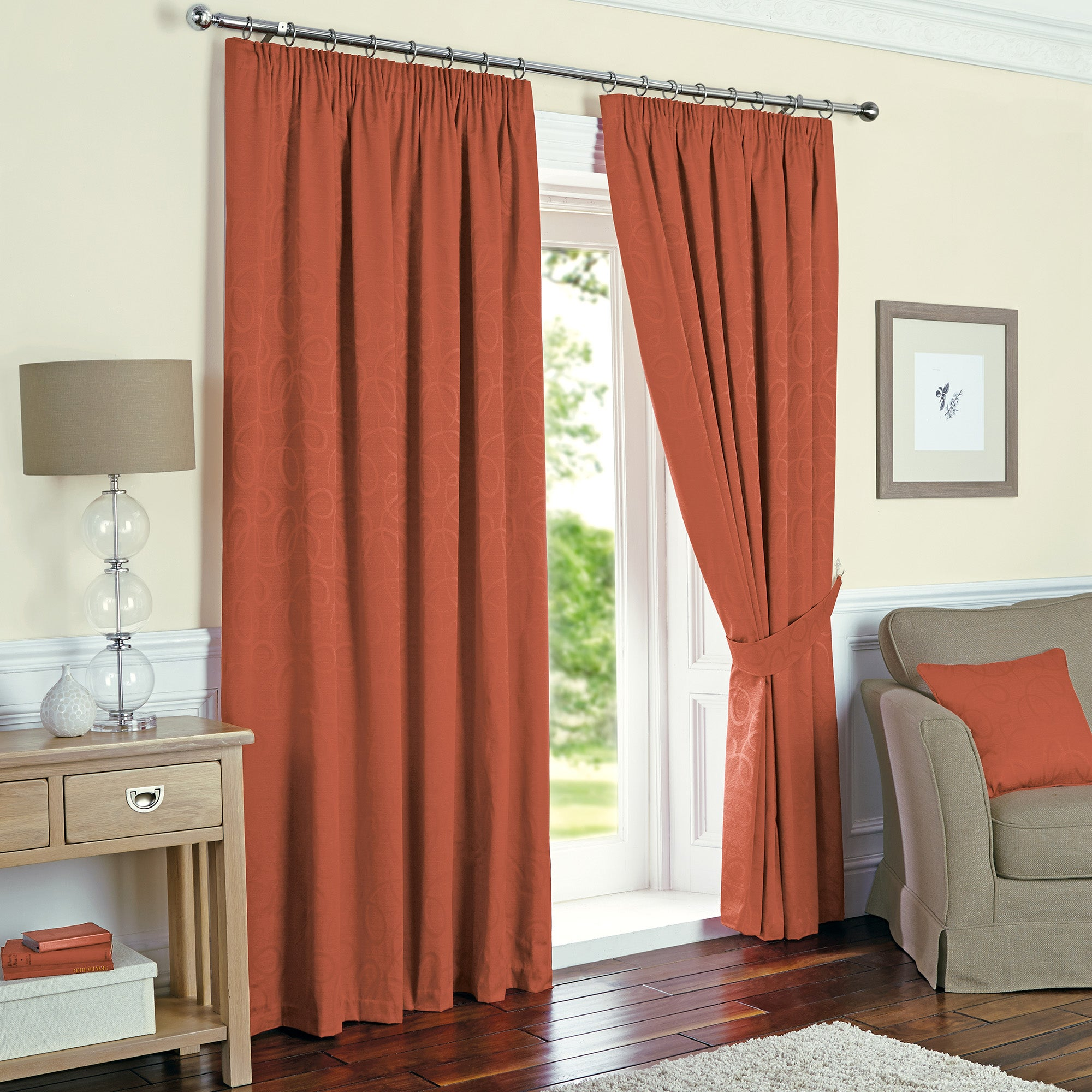 terracotta toledo thermal pencil pleat curtains dunelm. Black Bedroom Furniture Sets. Home Design Ideas