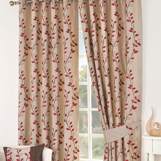 Red Osaka Lined Eyelet Curtain Collection