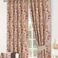 Red Osaka Lined Eyelet Curtains Collection