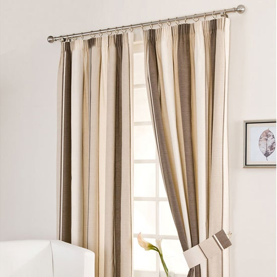 Mocha Milan Pencil Pleat Curtains