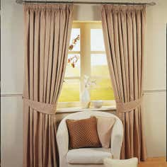 Stone Omega Lined Pencil Pleat Curtains