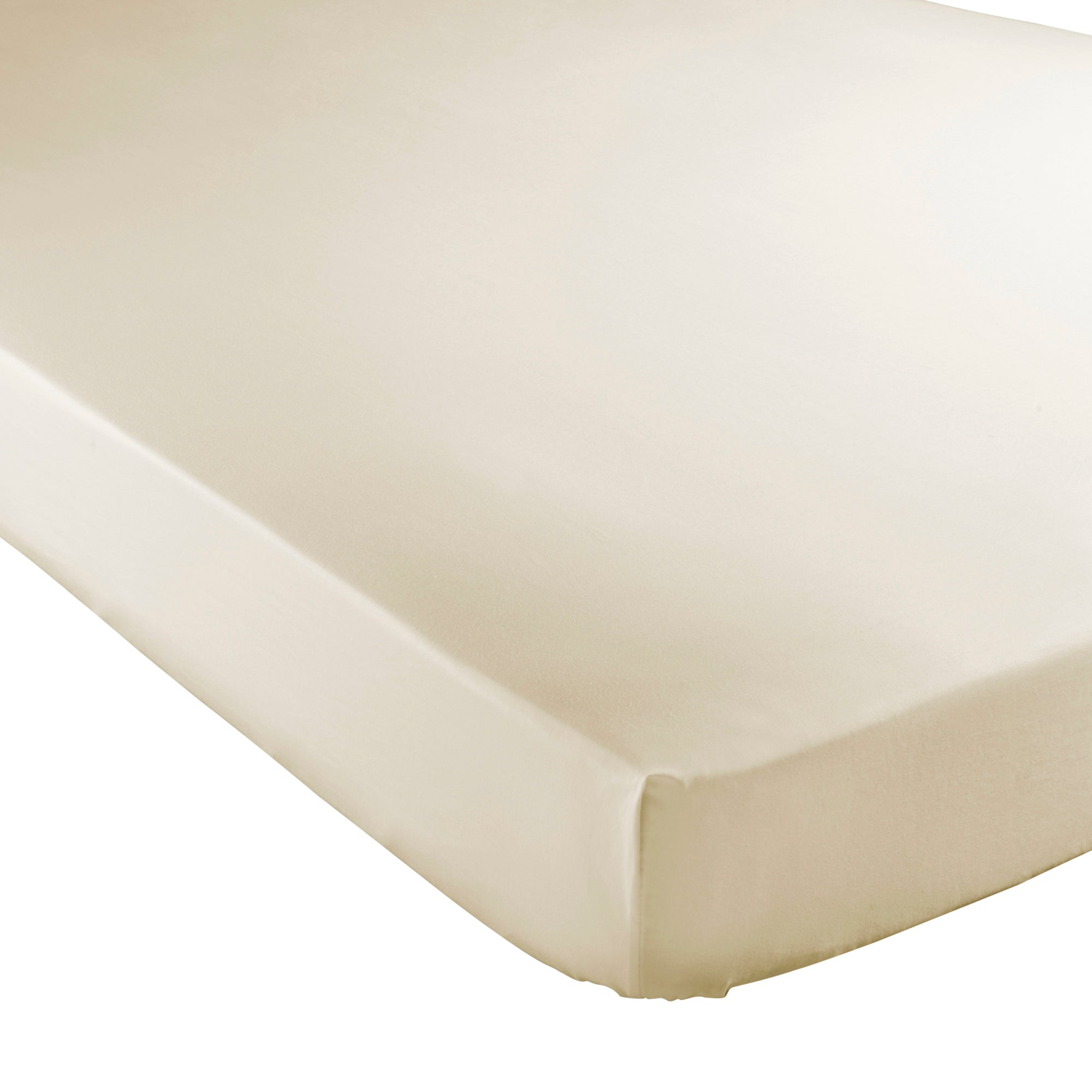 Cream Hotel Plain 300 Thread Count Collection Fitted Sheet