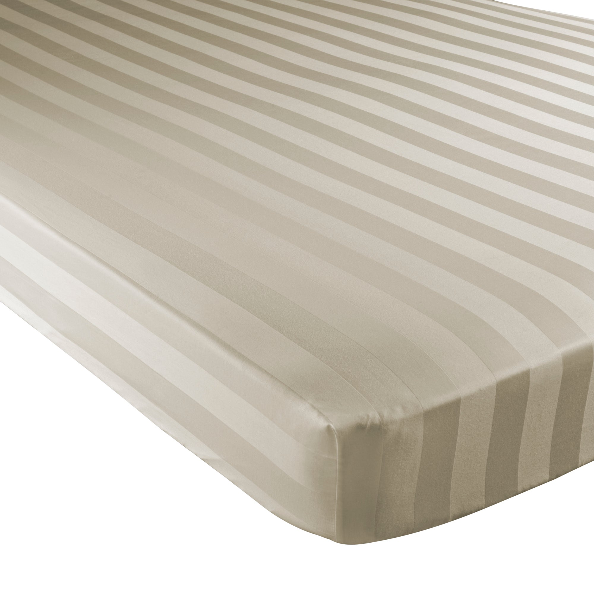 Cream Hotel Stripe 300 Thread Count Collection Fitted Sheet