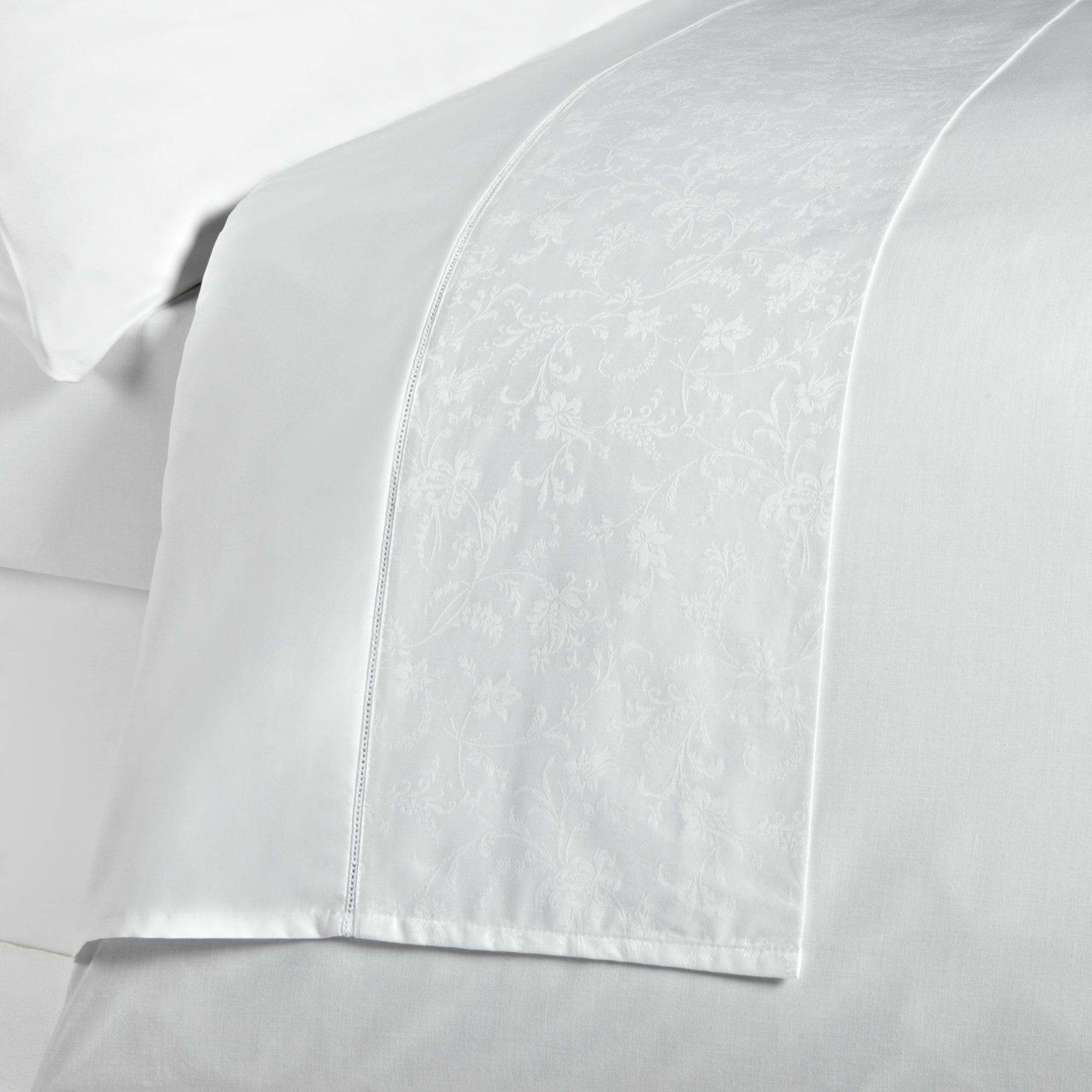 White Hotel Pima Floral 400 Thread Count Collection Flat Sheet