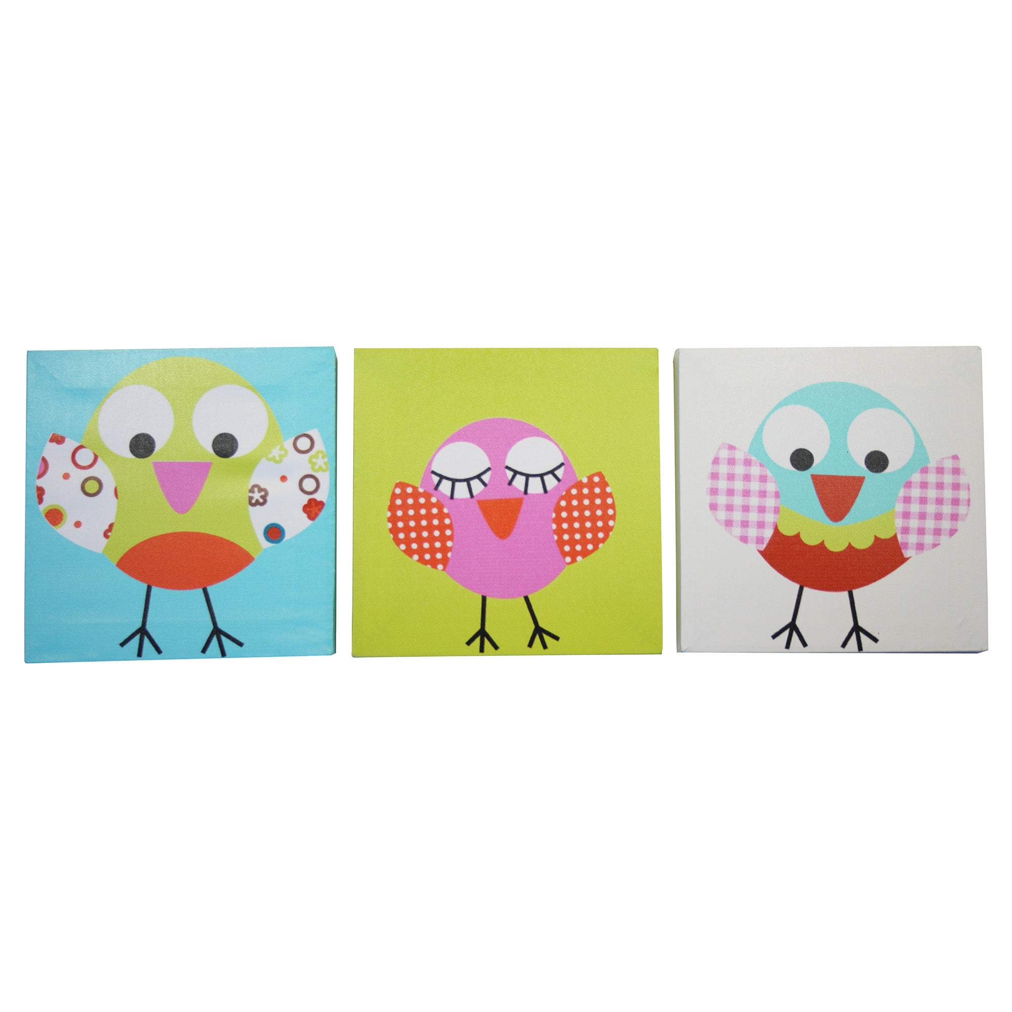 Kids Sleepy Owl Collection Set of 3 Canvases
