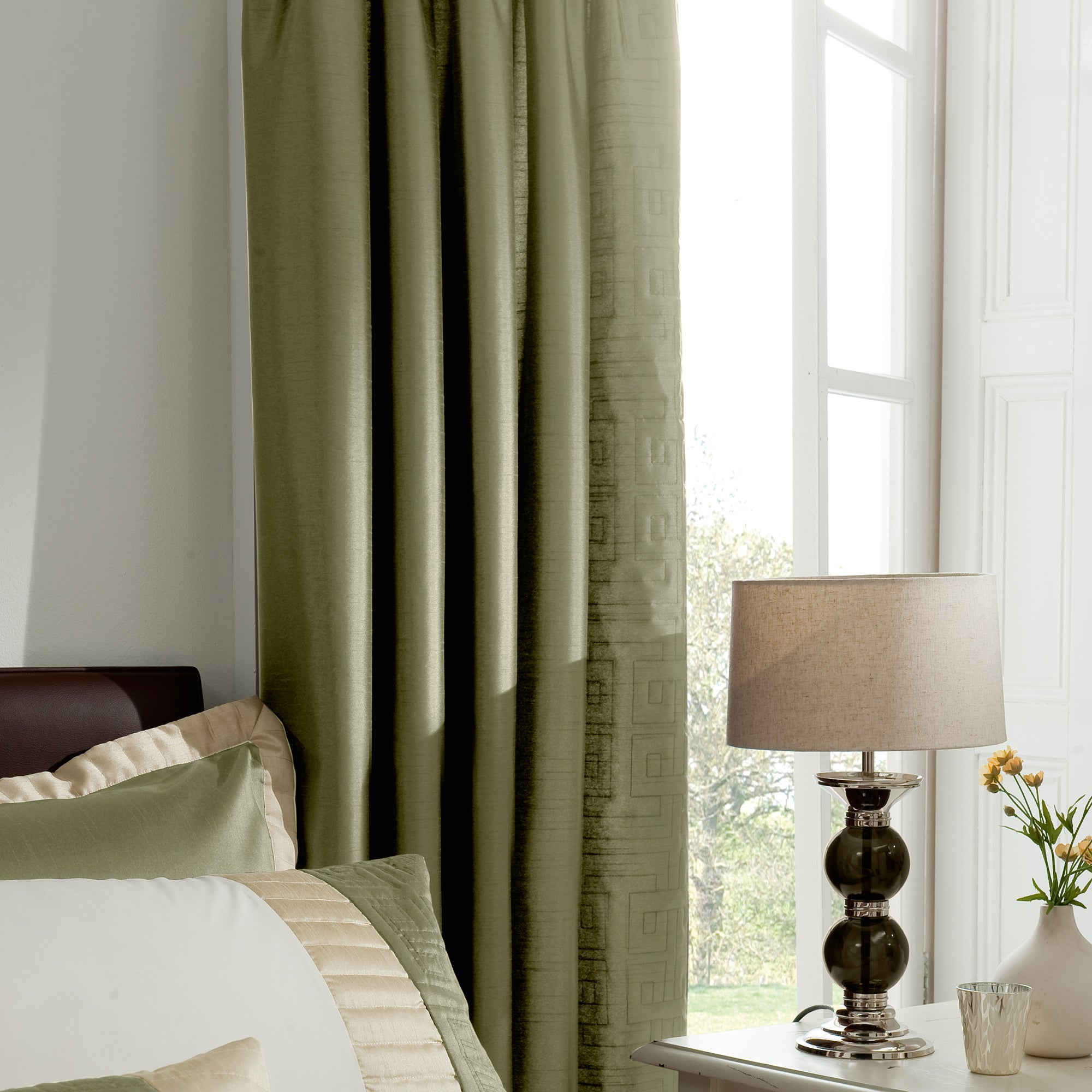 Green athens thermal pencil pleat curtains dunelm for Space fabric dunelm