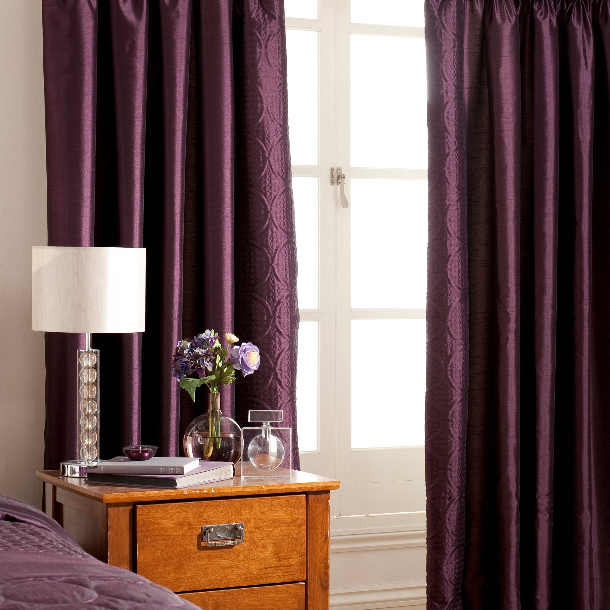 Plum Circles Lined Pencil Pleat Curtains