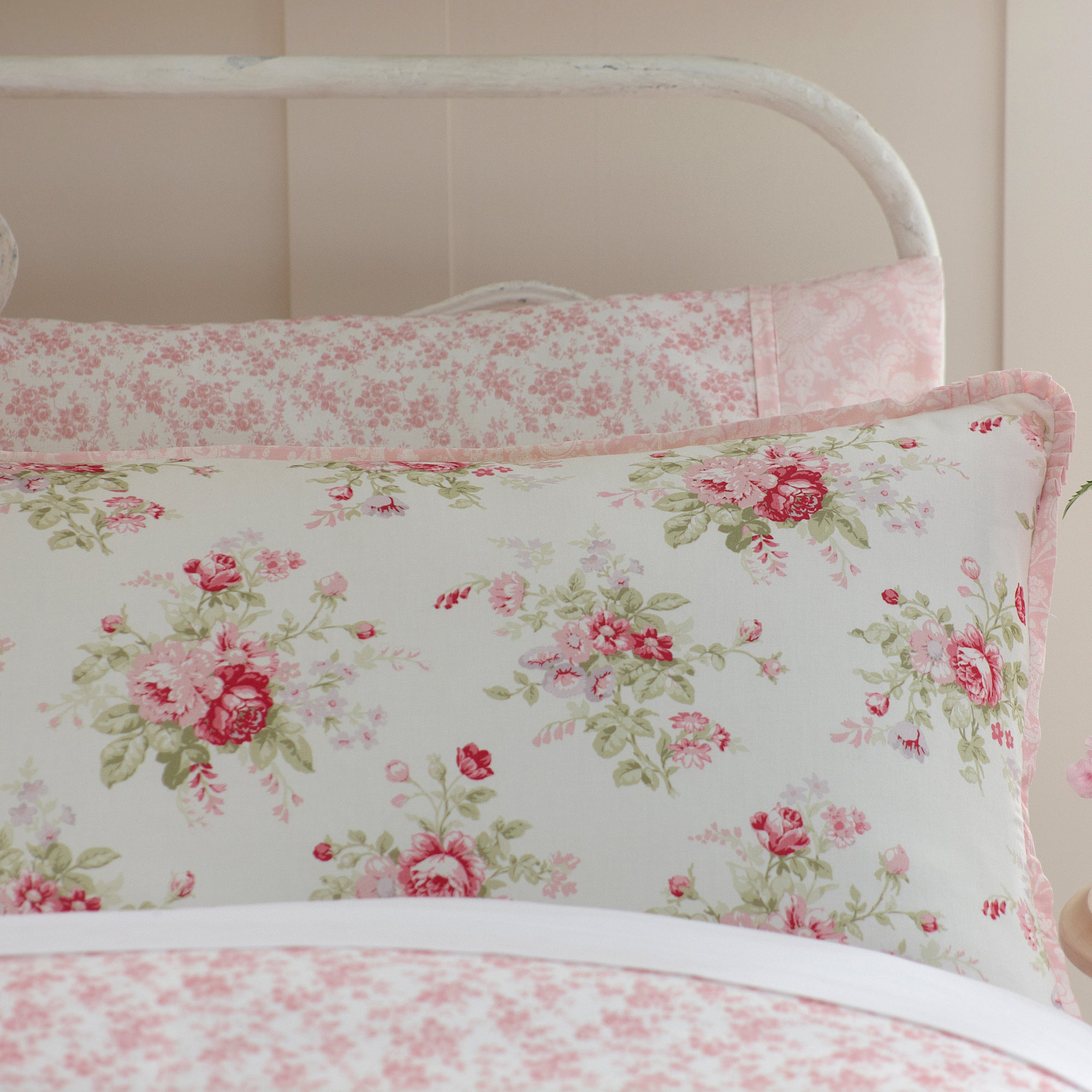 Dorma Pink Elsie Collection Frilled Pillowcase