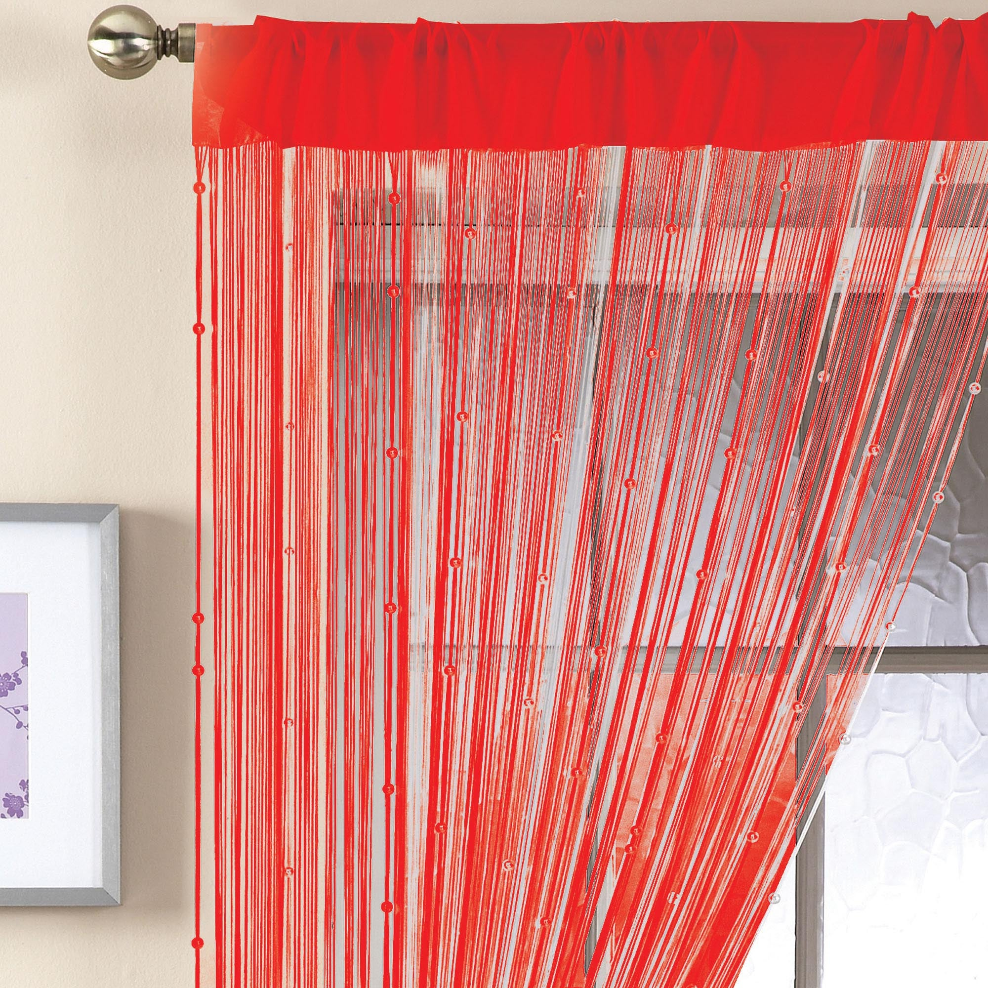 Red Beaded String Curtain