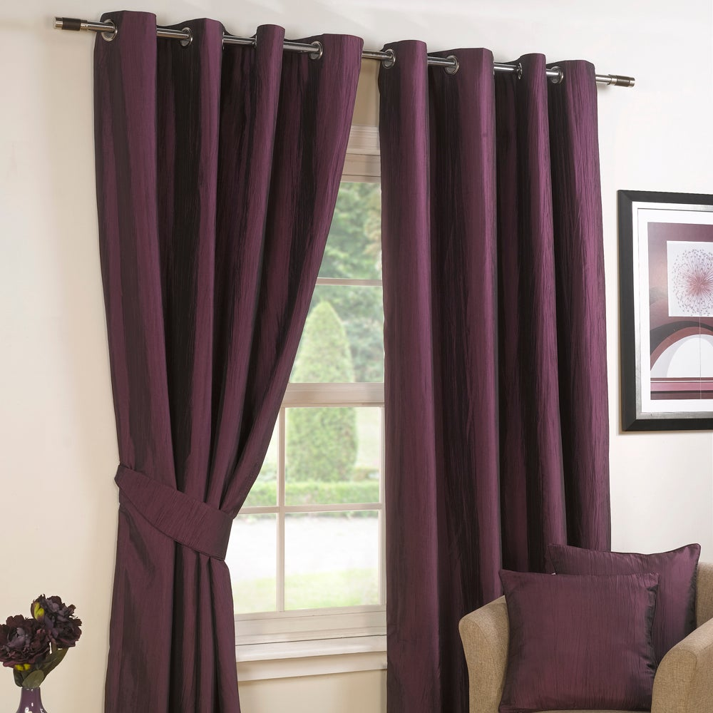 Aubergine Crushed Taffeta Lined Eyelet Curtains