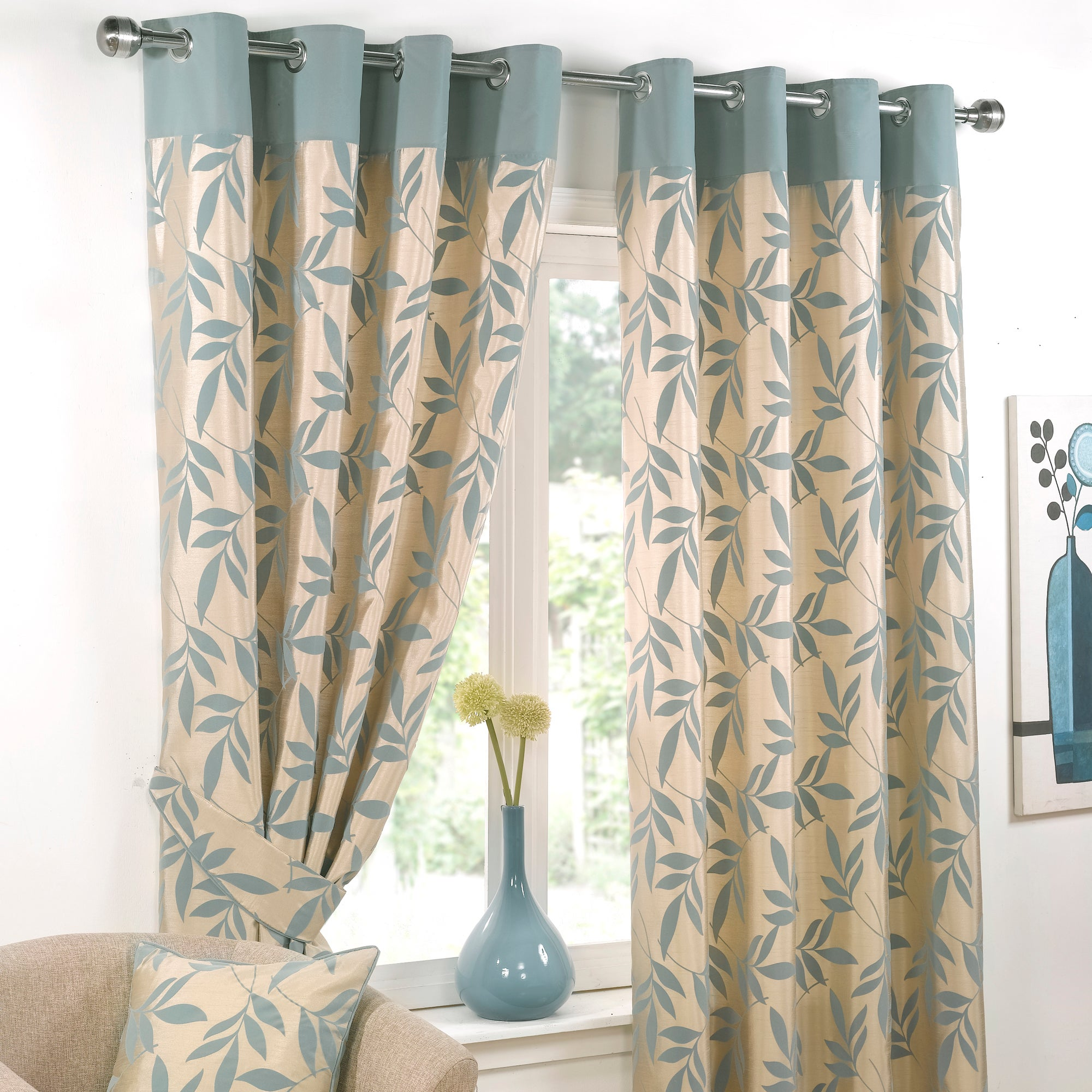 Duck Egg Delamere Lined Eyelet Curtains