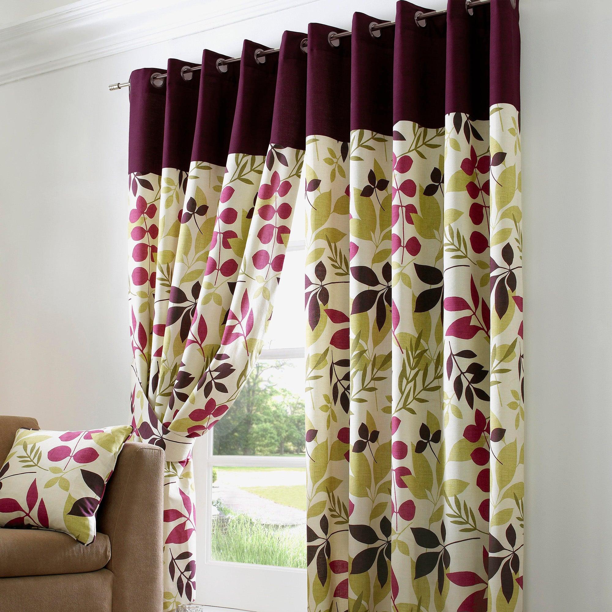 Plum Jakarta Lined Eyelet Curtains