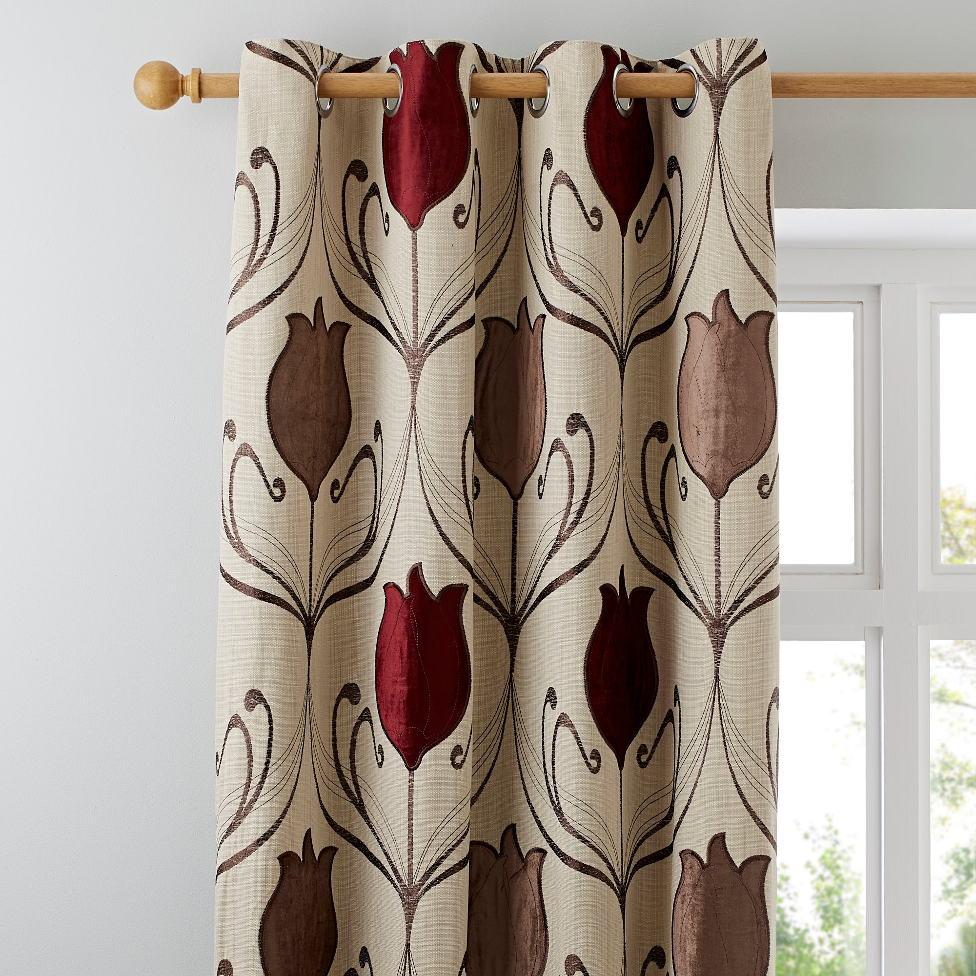 Wine Lalique Lined Eyelet Curtains