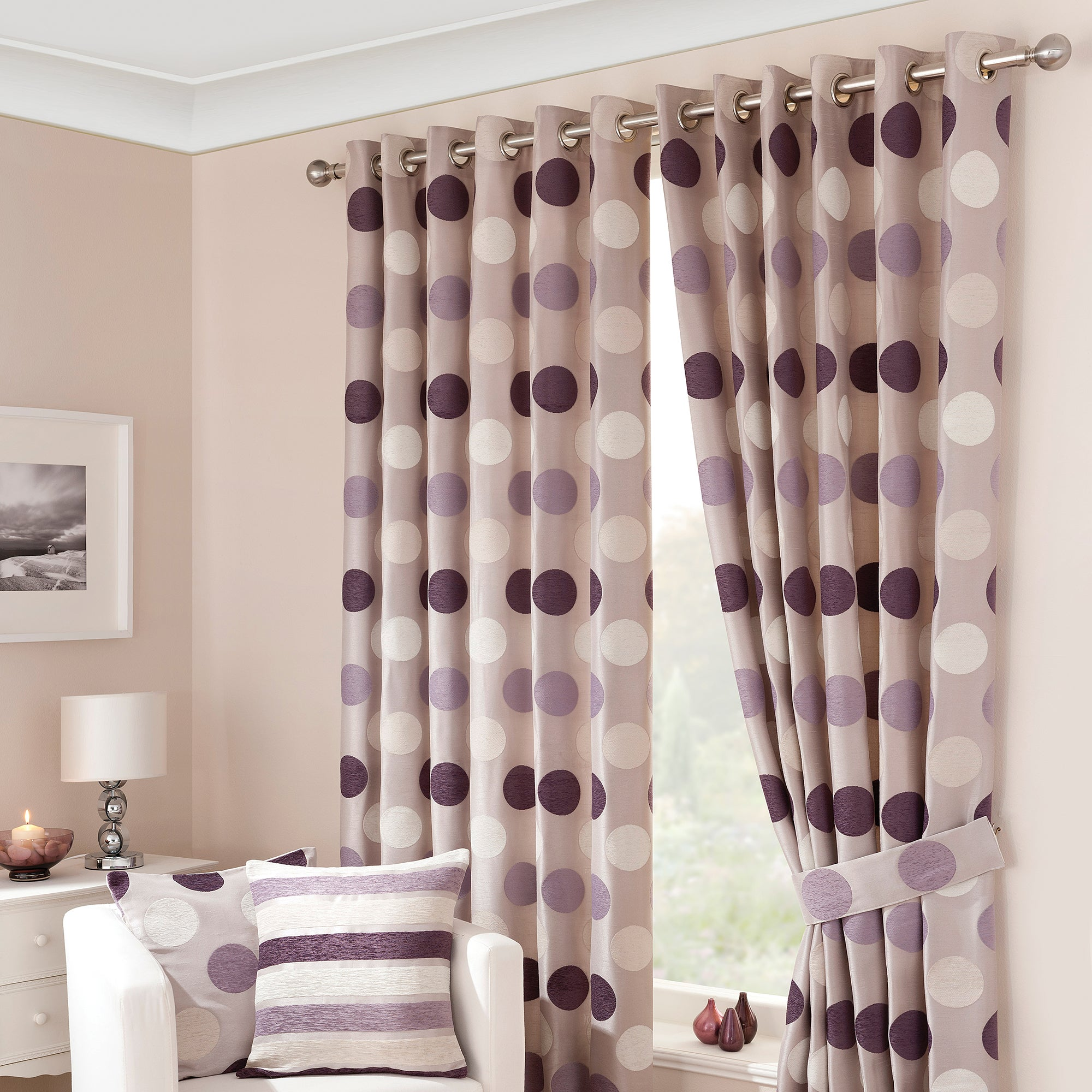 Mauve Luna Lined Eyelet Curtains