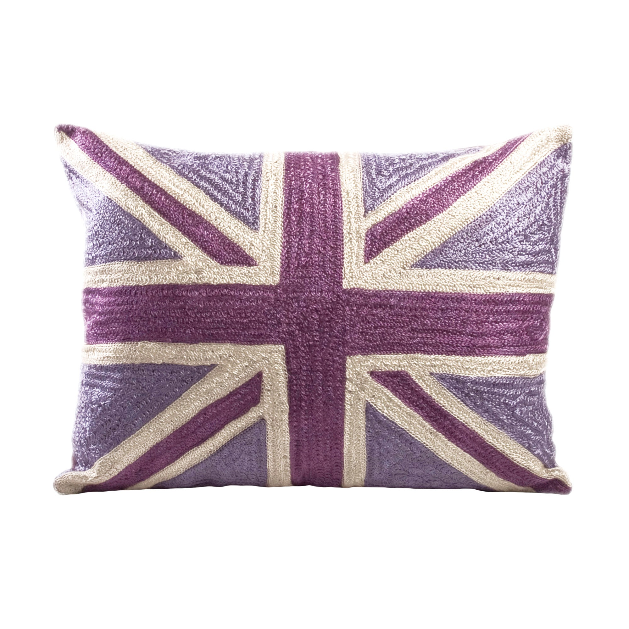 Mauve Union Jack Crewel Cushion