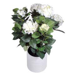 Artificial Cream Hydrangea Plant in a Ceramic Vase