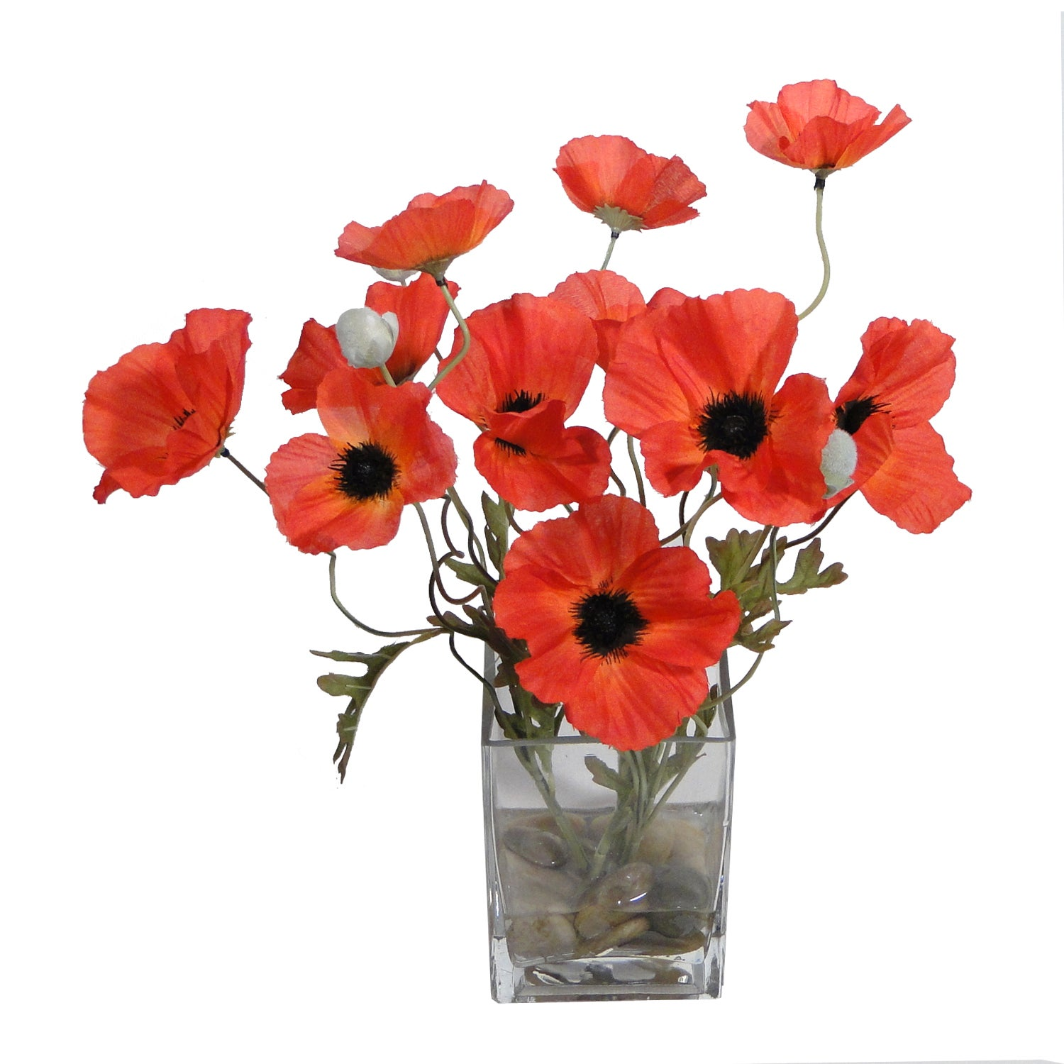 Artificial Red Poppy Arrangement in a Glass Vase