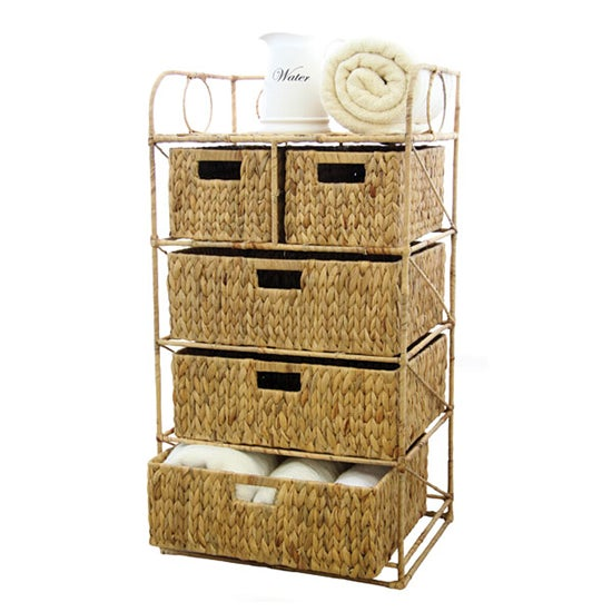 Hawthorne Water Hyacinth 5 Drawer Unit