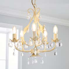 5 Light Leaf and Crystal Chandelier