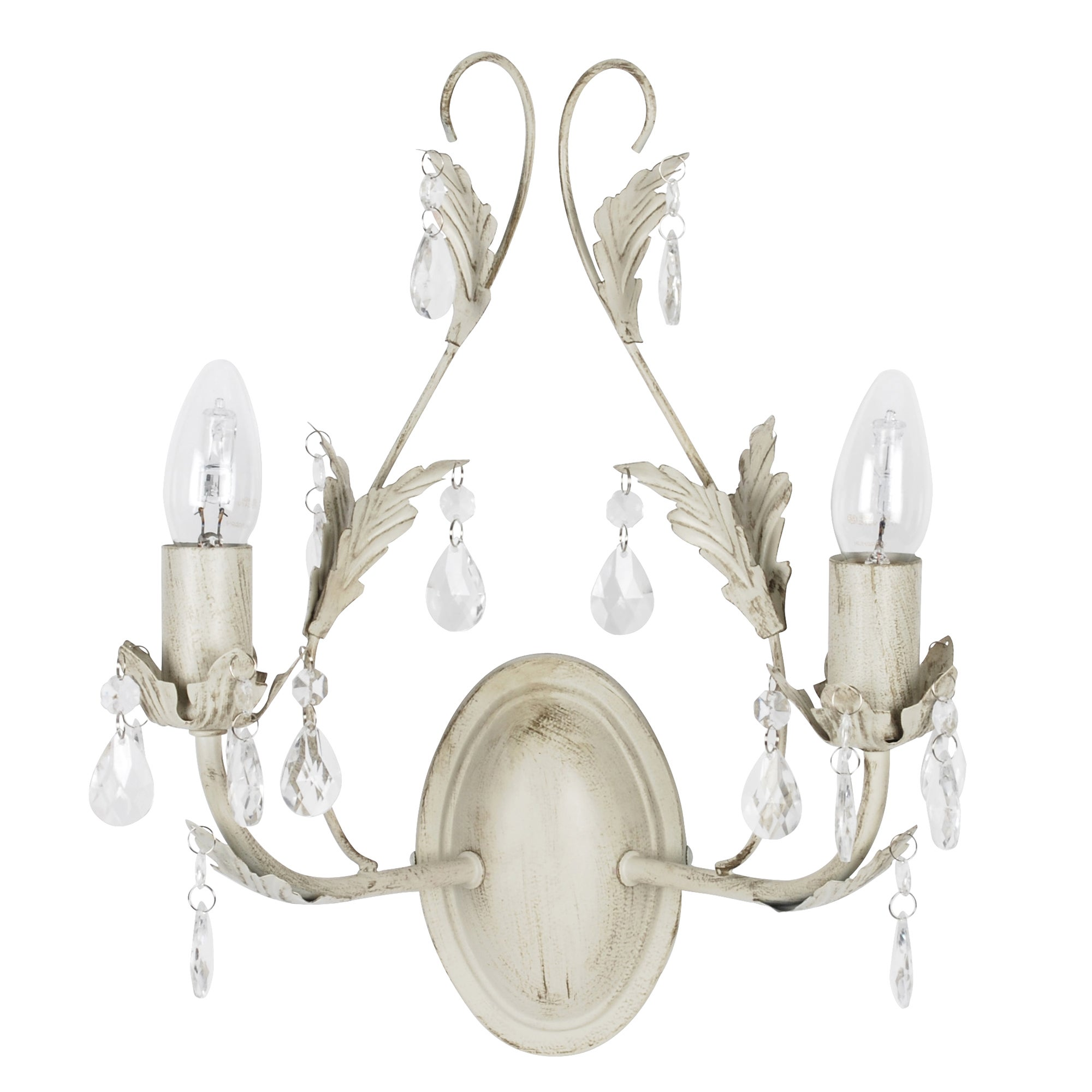 Leaf and Crystal Wall Light