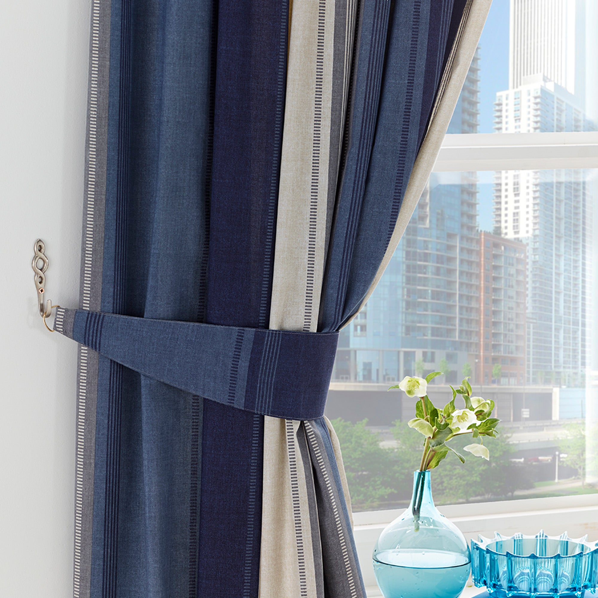 Blue Finley Pencil Pleat Curtains