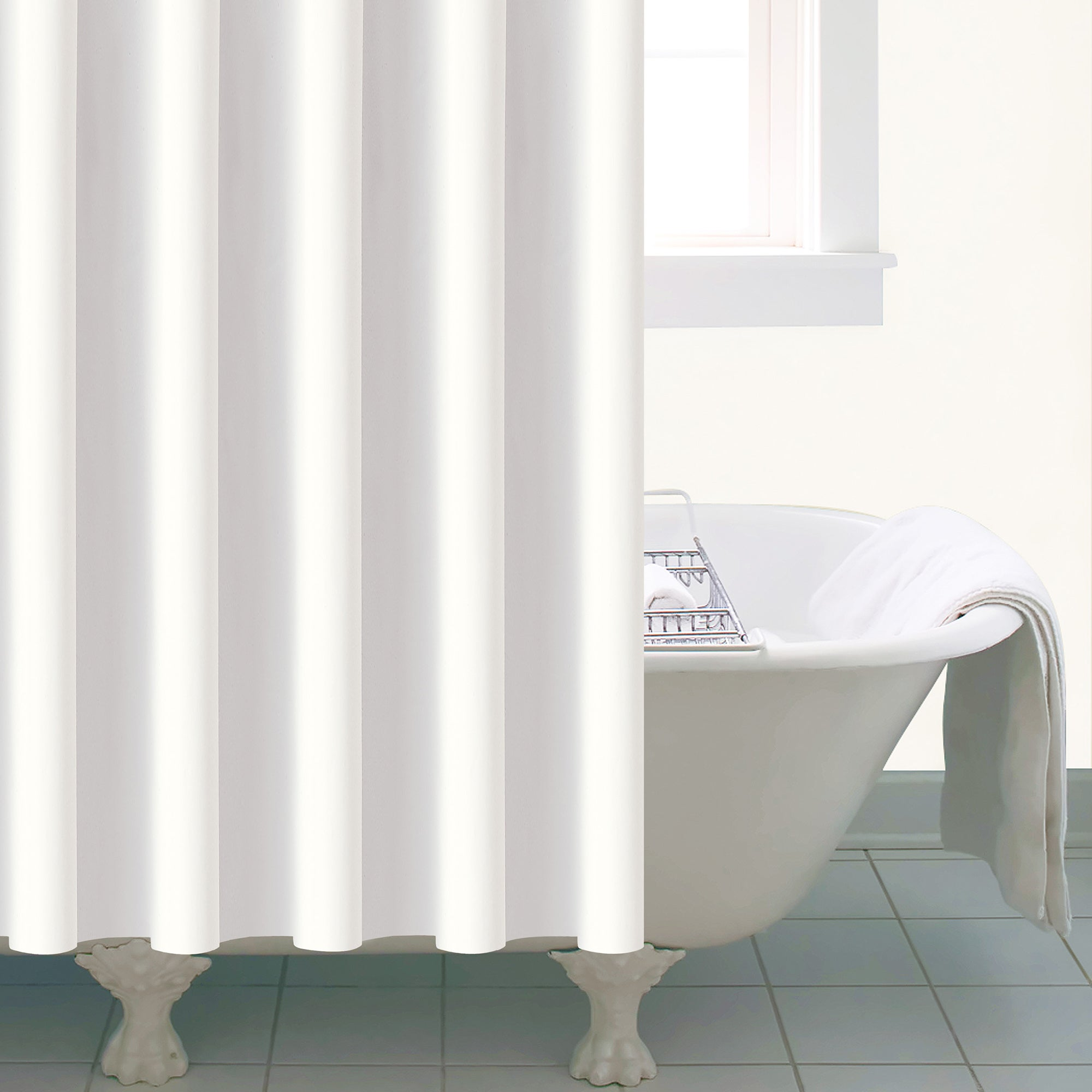 White Peva Shower Curtain