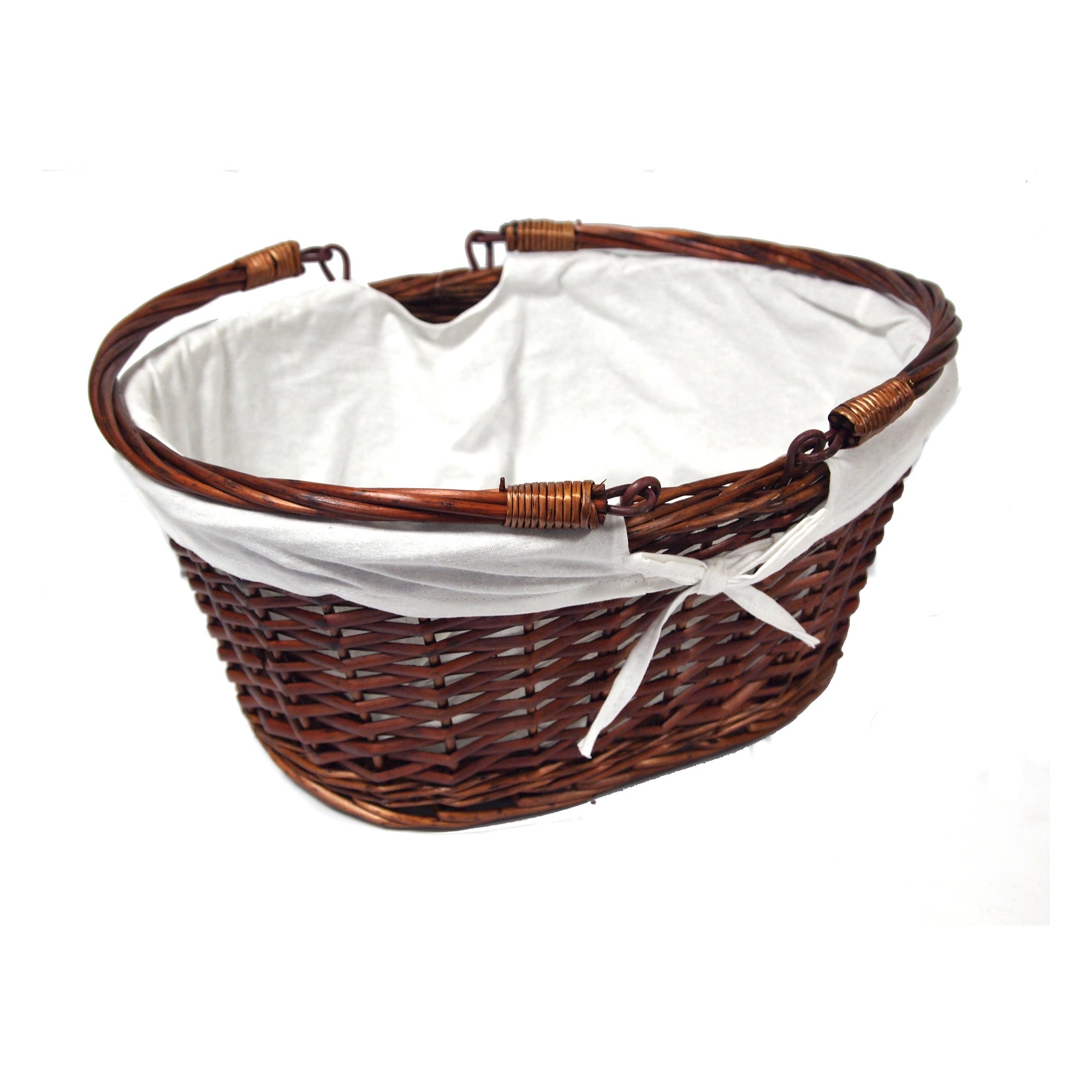 Chestnut Shopper Basket with Cream Liner