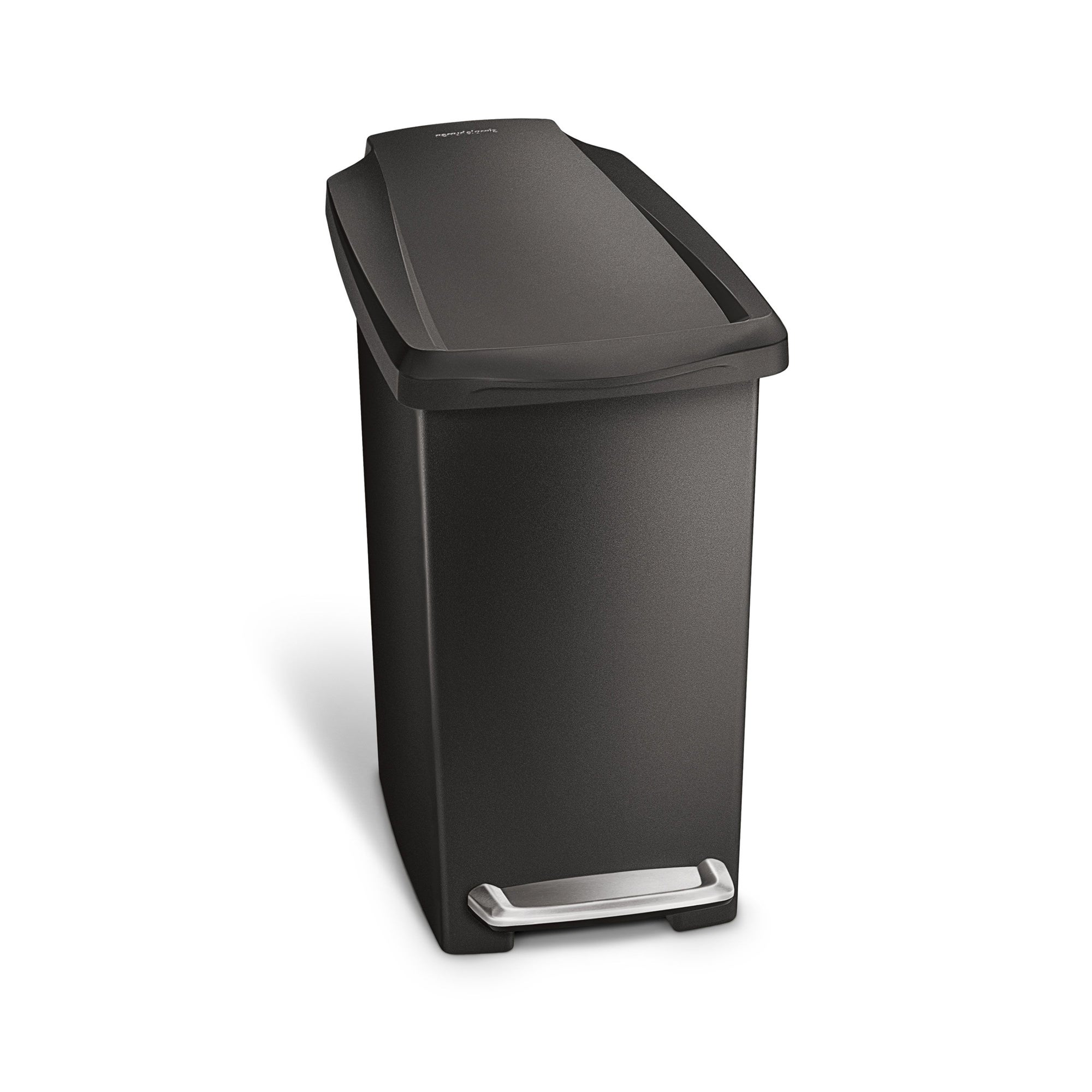 simplehuman 10 Litre Slim Plastic Black Pedal Bin