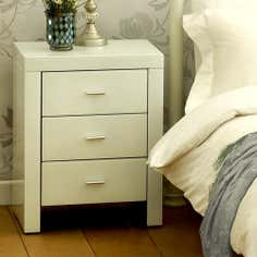 Venetian White 3 Drawer Bedside Unit