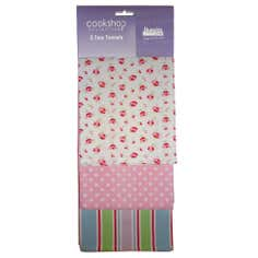 Pack of 3 Cottage Floral Tea Towels