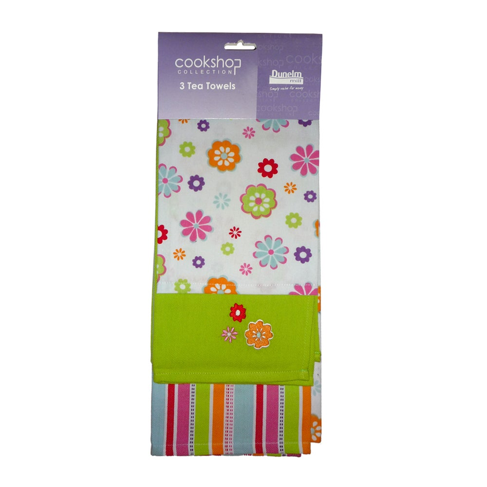 Pack of 3 Summer Floral Tea Towels