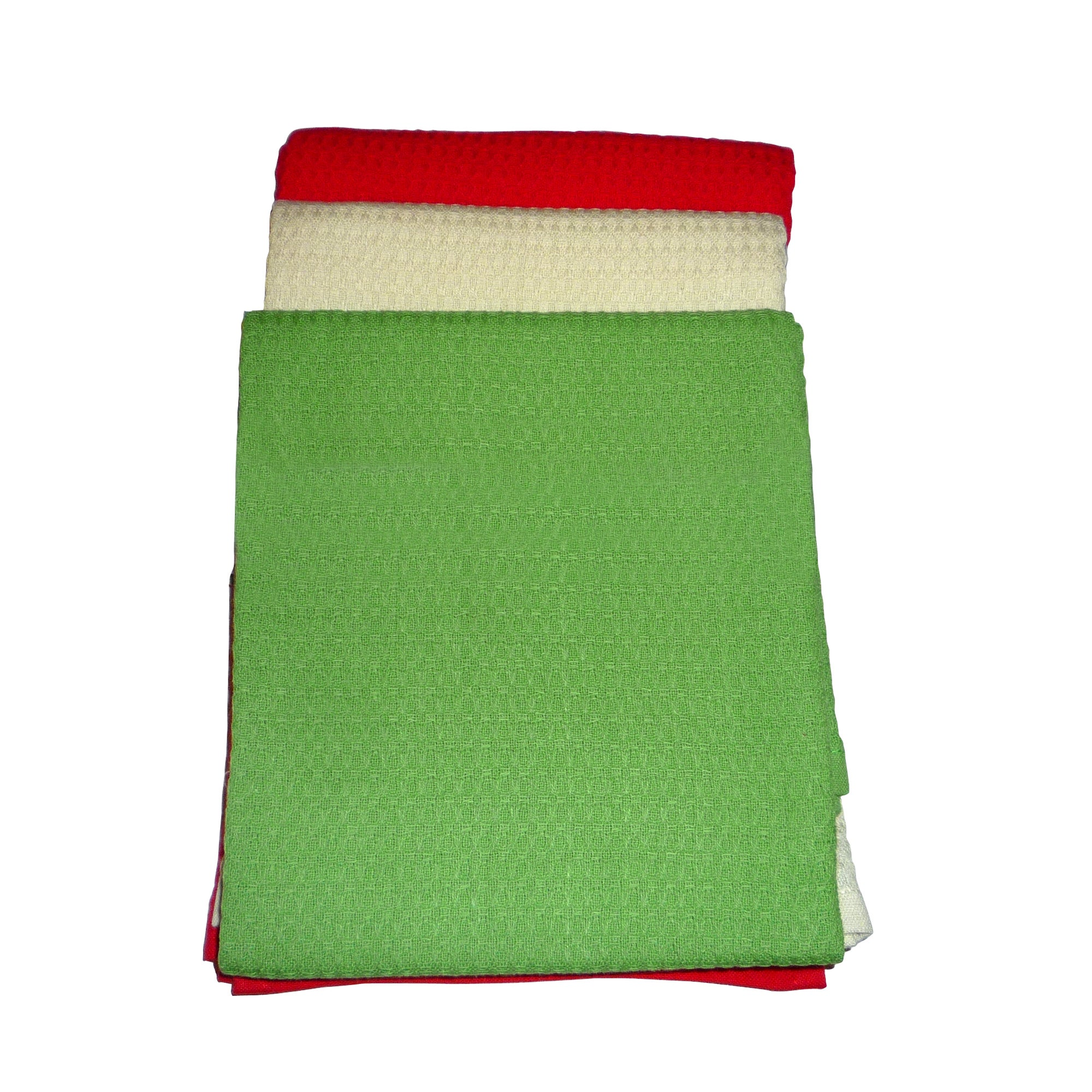 Pack of 3 Red, Cream and Green Waffle Tea Towels