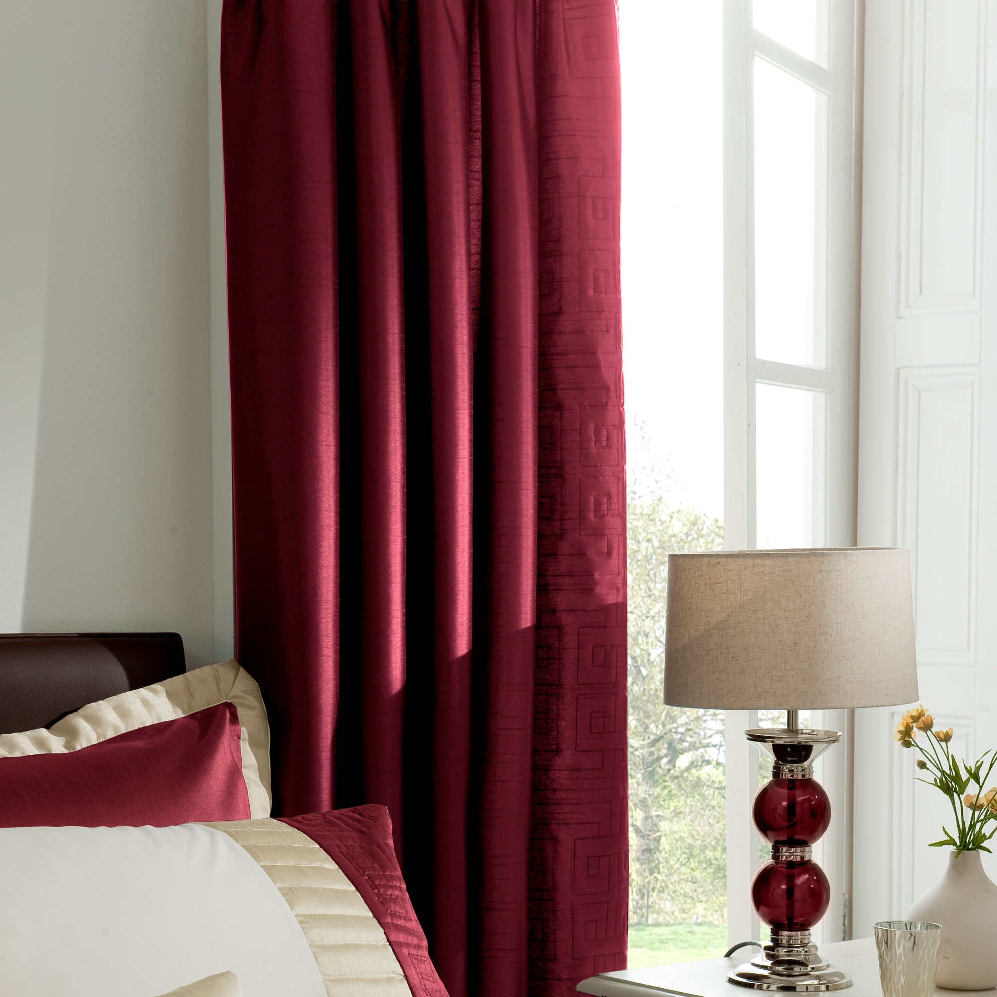 Red Athens Thermal Pencil Pleat Curtains