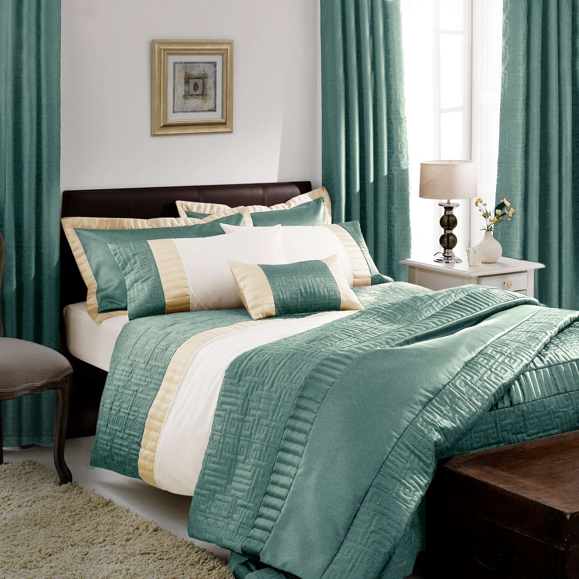 Teal Athens Collection Duvet Cover