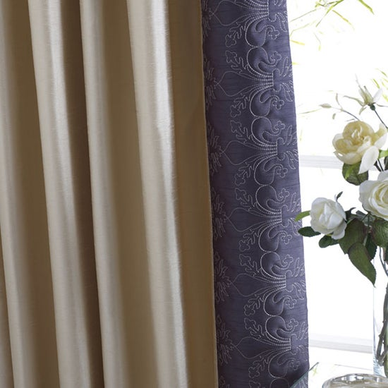 Charcoal Fleur De Lys Thermal Pencil Pleat Curtains