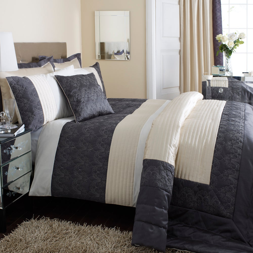 Charcoal Fleur De Lys Collection Duvet Cover