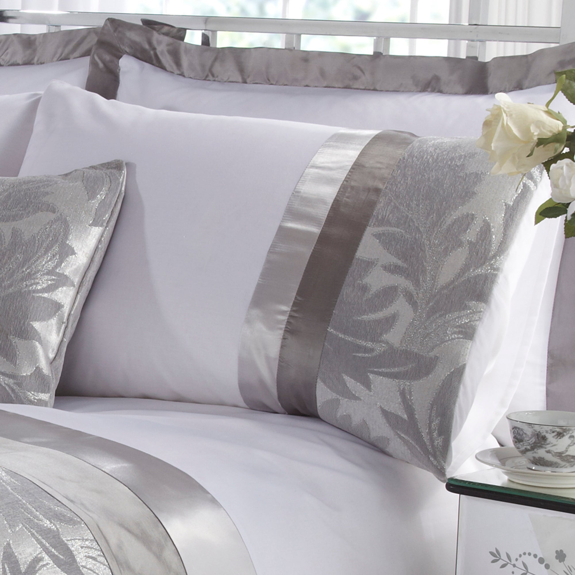 Silver Roma Damask Collection Housewife Pillowcase