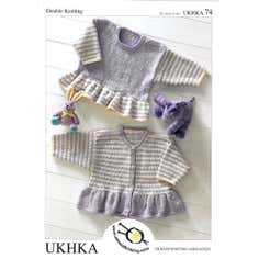 Girls Striped Jumper and Cardigan Knitting Leaflet UKHKA 74