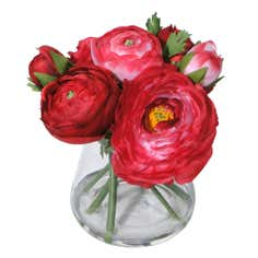 Artificial Red Ranunculus Arrangement in a Glass Vase