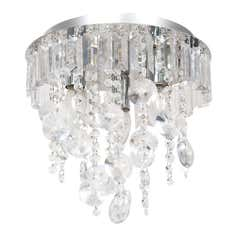 Glass Prism and Disk 3 Light Ceiling Fitting