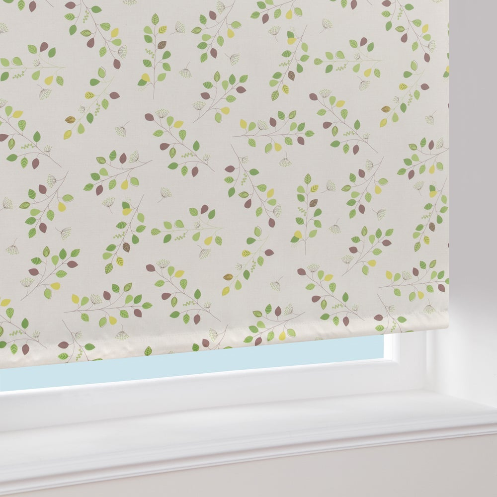 Green Leaf Print Blackout Roller Blind