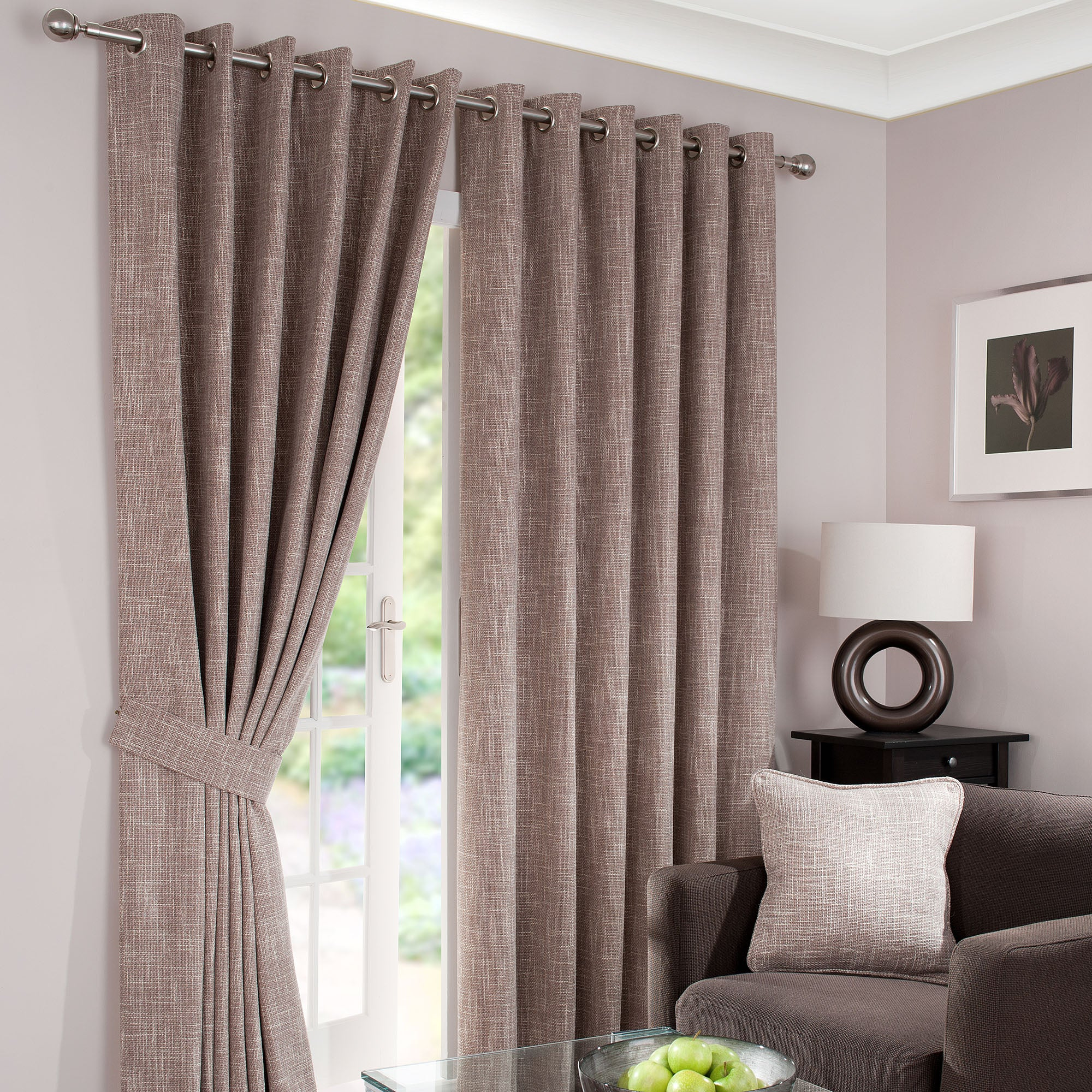 Mink Lorenza Lined Eyelet Curtains