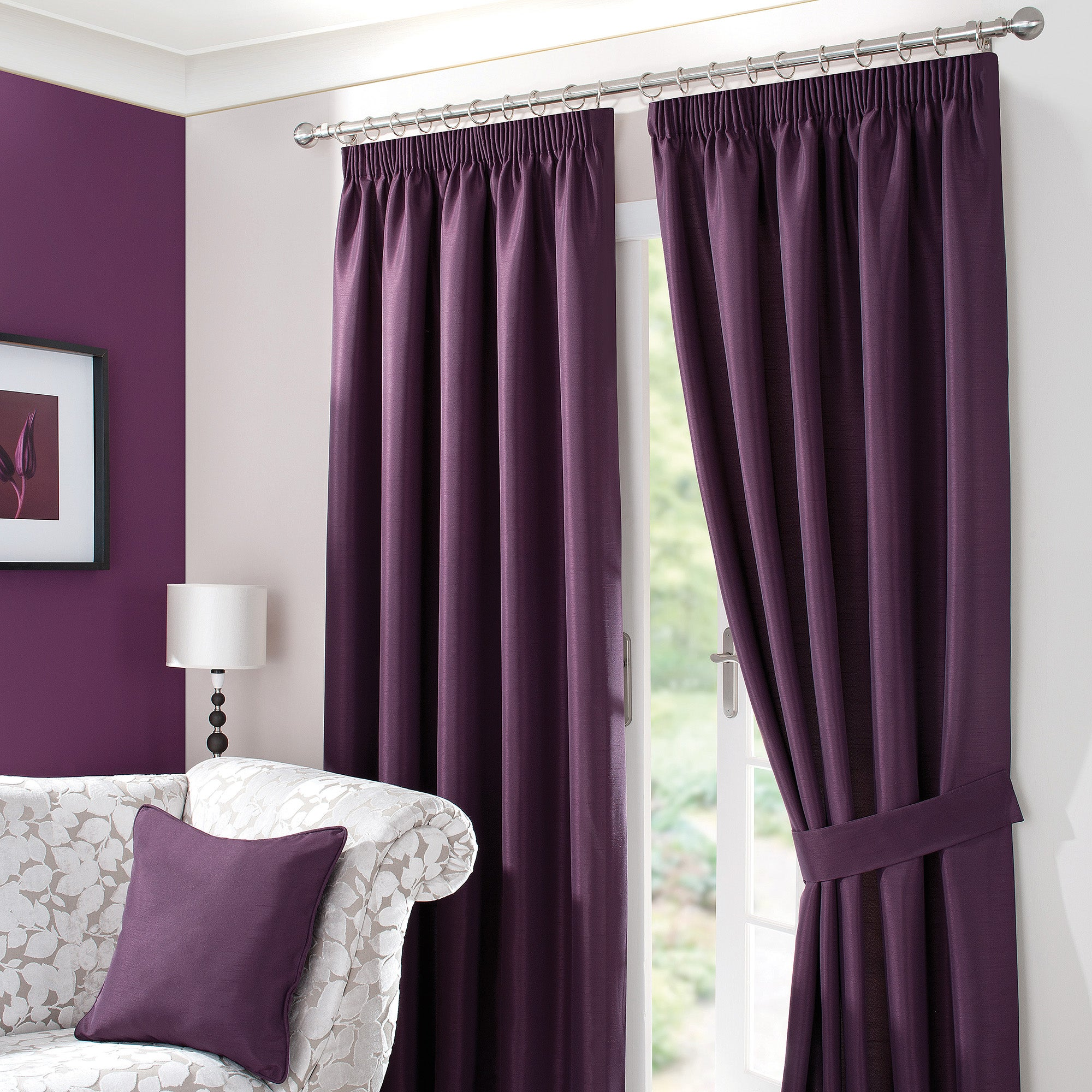 Blackcurrant Sorrento Lined Pencil Pleat Curtains