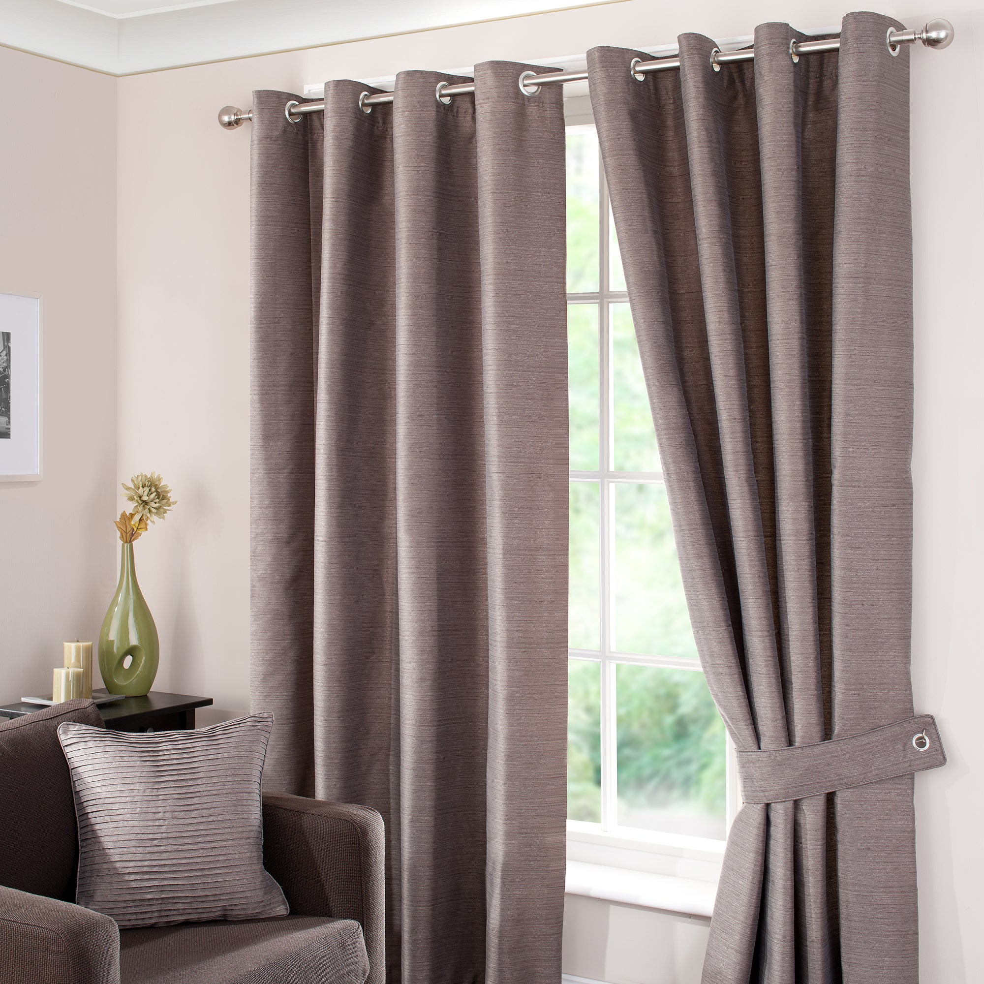 Waters and Noble Slate Opal Lined Eyelet Curtains