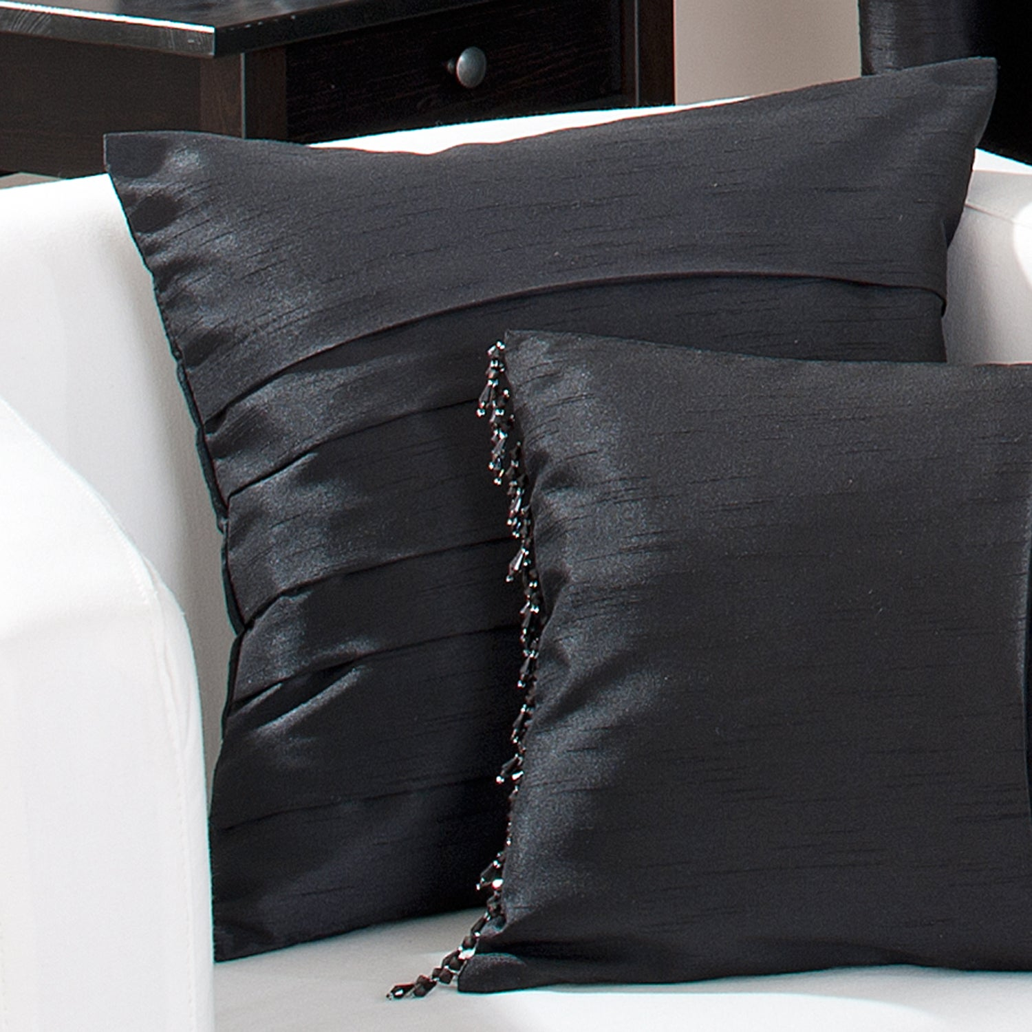 Hotel Black Pintuck Collection Cushion