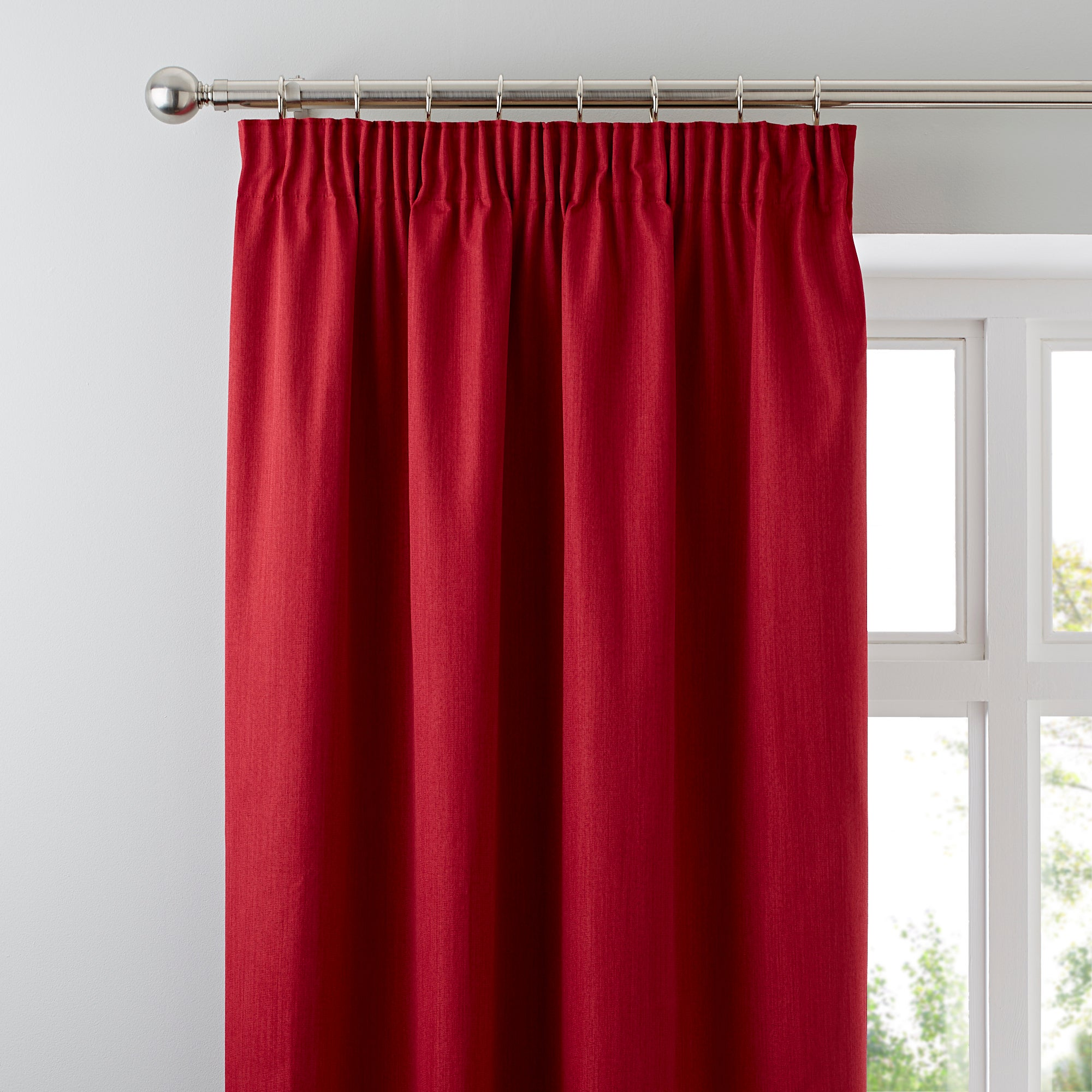 Waters and Noble Red Solar Blackout Pencil Pleat Curtains