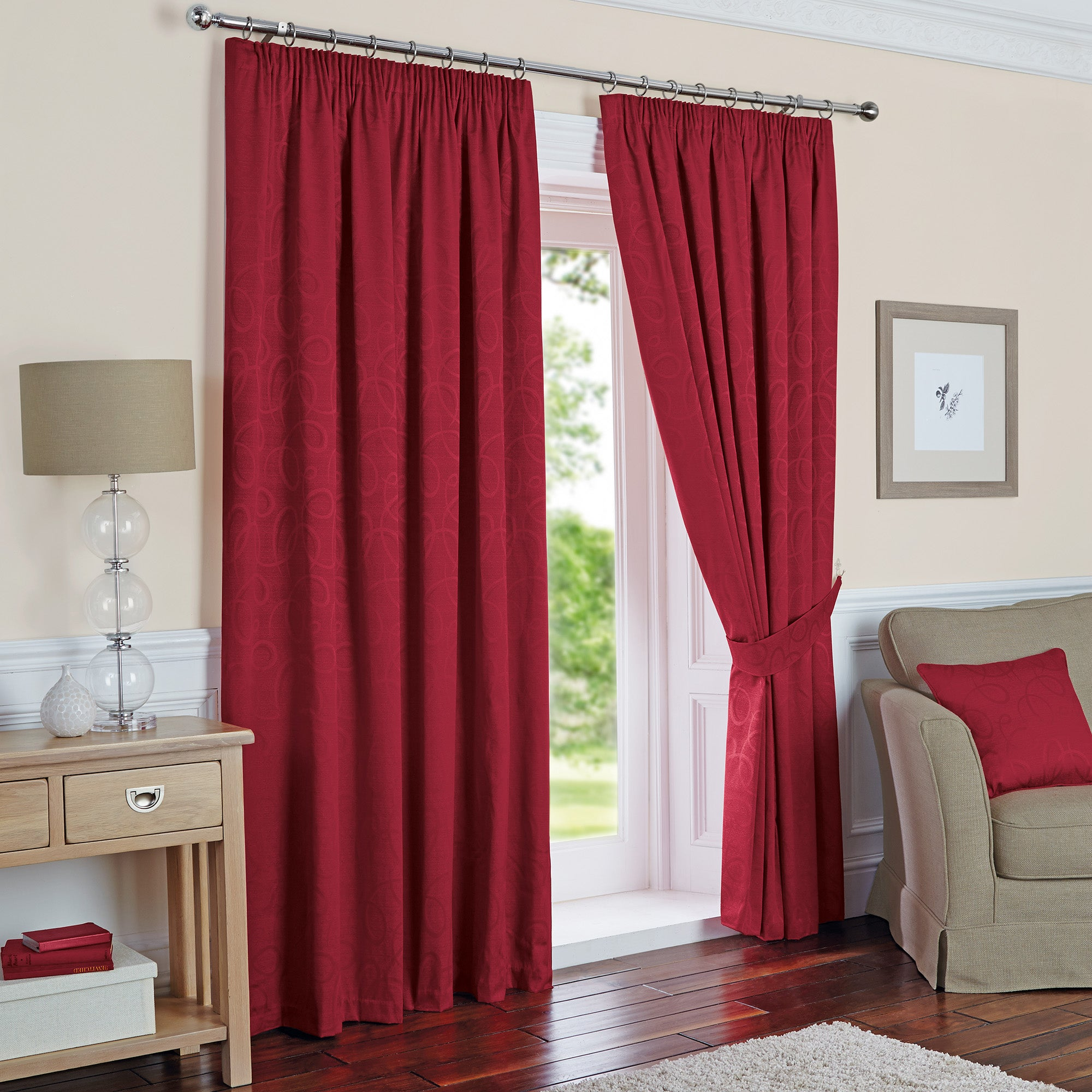 Claret Toledo Thermal Pencil Pleat Curtains