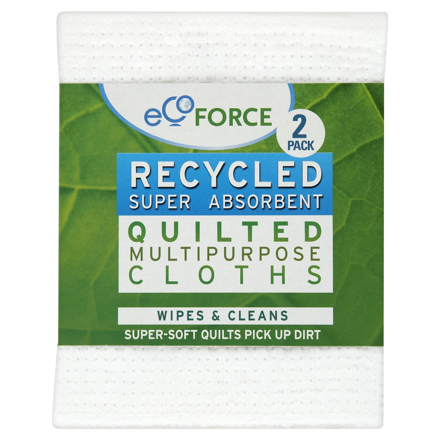 Pack of 2 EcoForce Recycled Super Absorbent Quilted Cloths